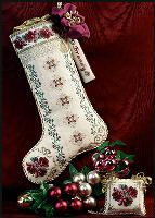 JN051 Just Nan Burgundy Bouquet Stocking • ©1998, Nan Caldera